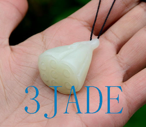 Natural Nephrite Jade Lotus Seed Pod Pendant Necklace Hand Carved Jewelry