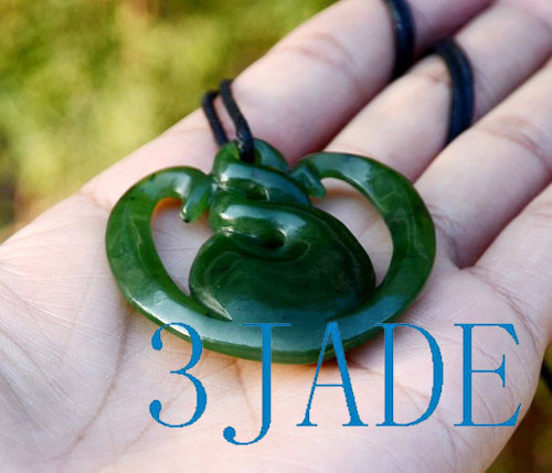 Green Nephrite Jade Twist Heart Pendant NZ Maori Style Greenstone Necklace
