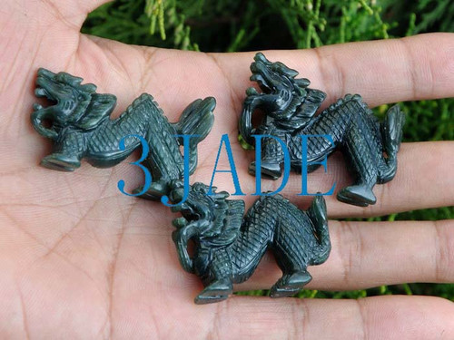 3pcs Natural Nephrite Jade Chinese Dragon Figurines Carvings Wholeslae