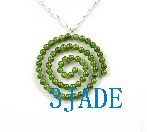 Green Nephrite Jade Beaded Spiral