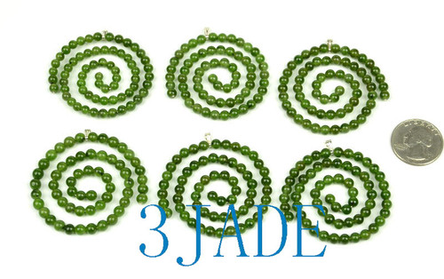 Green Jade Beaded Spiral Maori Koru