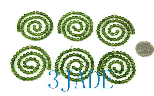 Green Jade Beaded Spiral Maori Koru