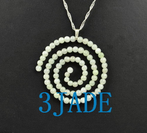 Jadeite Jade Beaded Spiral Pendant Necklace