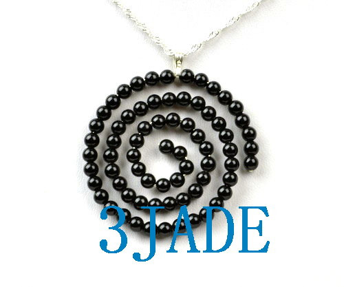 Black Onyx Beaded Spiral Pendant