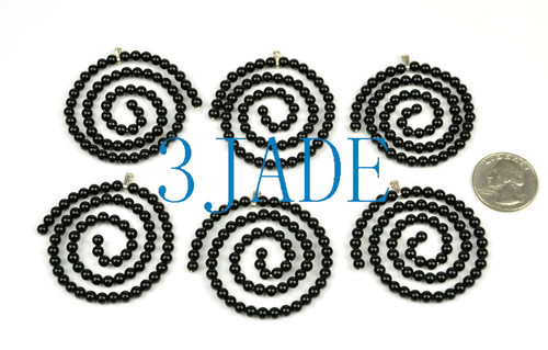 Black Onyx Beaded Spiral Necklace