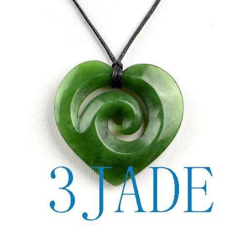 Green Nephrite Jade Maori Koru Heart Pendant