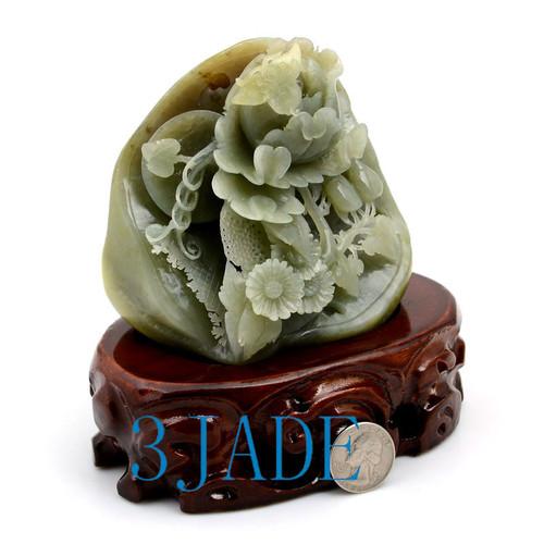 Hetian Jade Peony Flower Sculpture