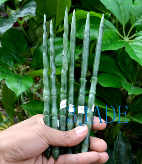 Green Nephrite Jade Magic Wand