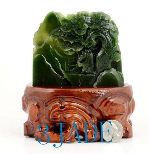 Green Nephrite Jade Oriental Mountain Scenery Mini Sculpture Shanzi