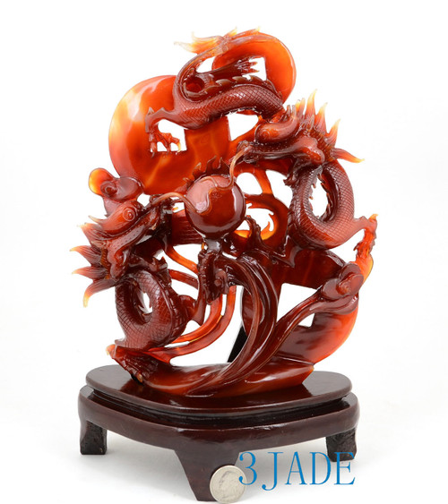 Carnelian / Red Agate Playing Dragons Statue Sculpture