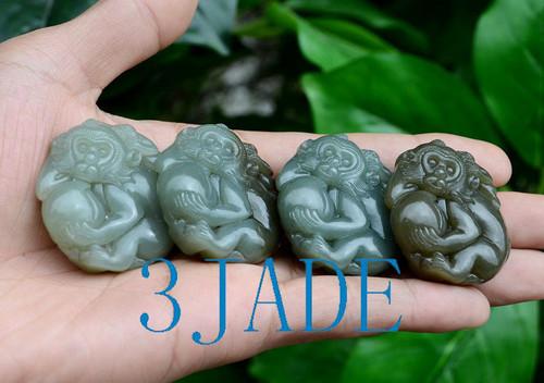 Nephrite Jade Monkey Pendant