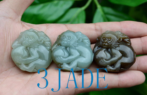Nephrite Jade Monkey Pendant Wholesale