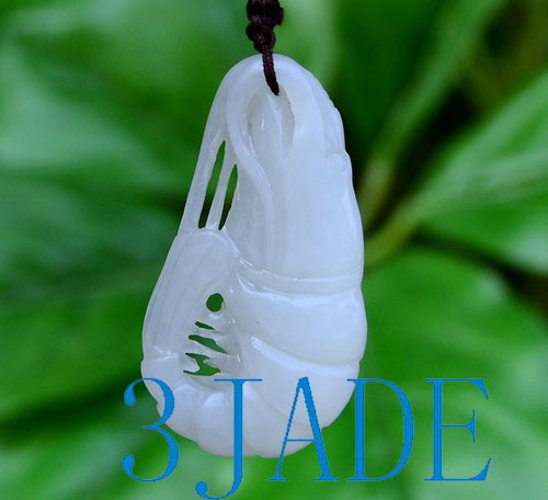 white nephrite jade shrimp pendant necklace