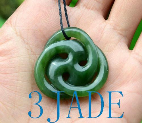 Green Nephrite Jade Celtic Knot Pendant