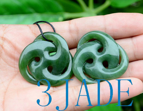 Green Nephrite Jade Celtic Cross Necklace