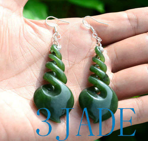 green nephrite jade quad twist earrings
