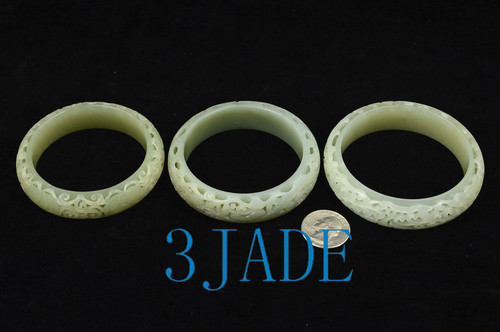 carved white nephrite jade bangle