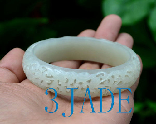63mm carved jade bangle