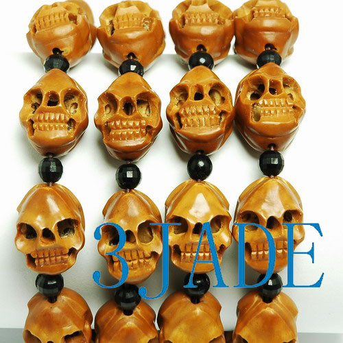 Olive Pit Skull Beads Bracelet