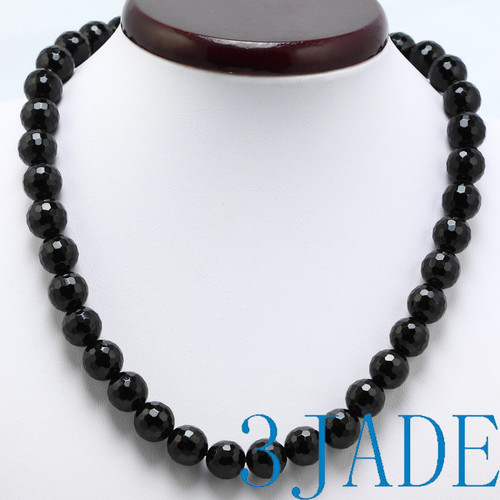 faceted black onyx beads necklace