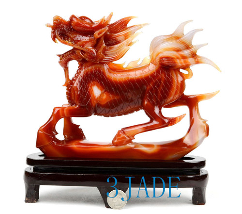 Carnelian Qilin Sculpture