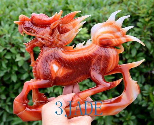 Carnelian Kirin Sculpture