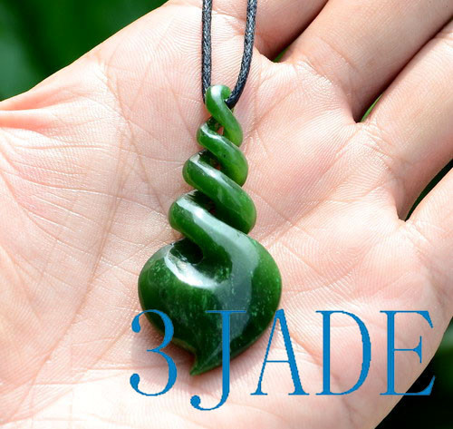 green jade quad twist pendant necklace