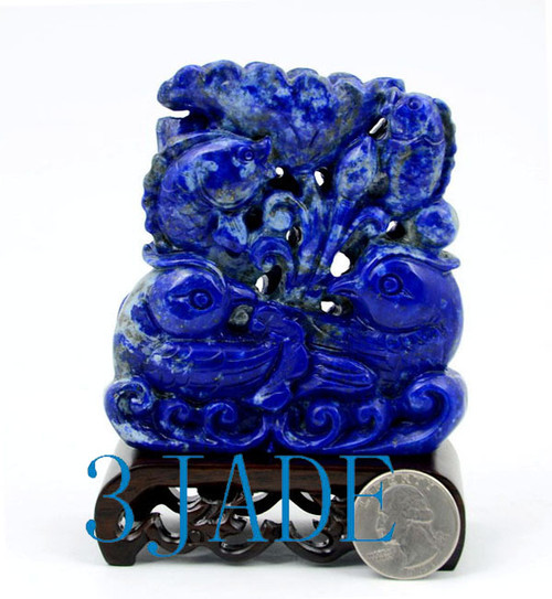 Lapis Lazuli Mandarin Ducks & Koi Fish Mini Sculpture