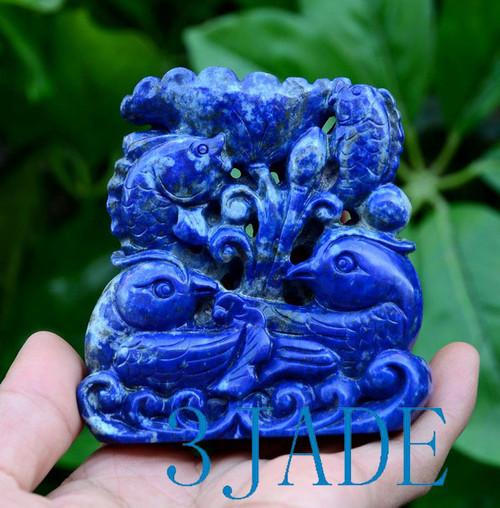 Lapis Lazuli Mandarin Ducks & Koi Fish Carving