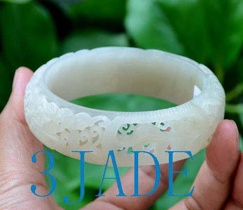 67mm Carved Flower White Jade Large Size Bangle Bracelet