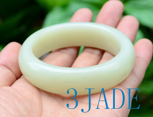60mm Creamy White Jade Bangle