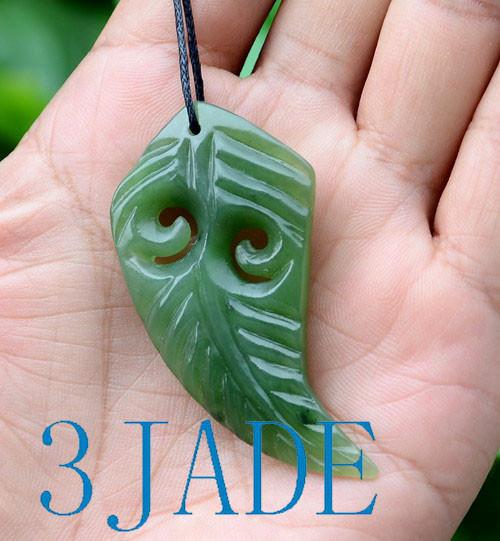Green Nephrite Jade Fern Leaf  Pendant
