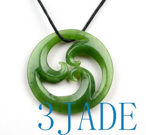 Green Jade Triple Koru Pendant