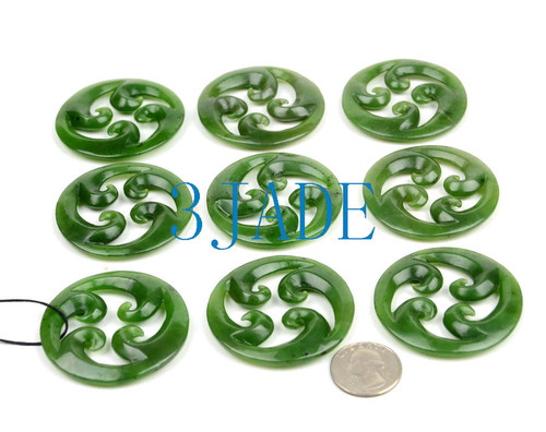 Green Jade Quad Koru Pendant