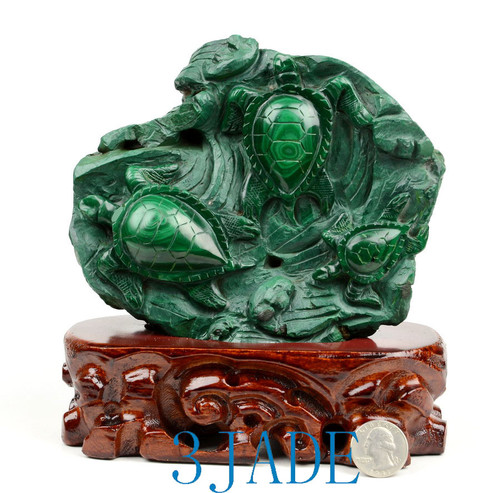 Malachite Green Sea Turtle Sculpture