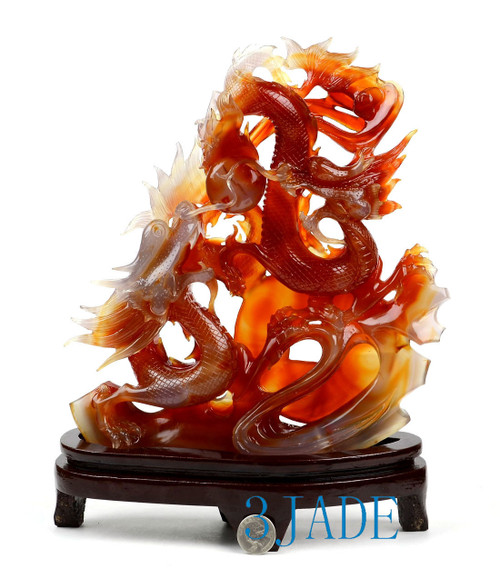 Carnelian / Red Agate Double Dragons Playing Pearl Sculpture