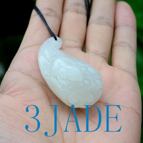 white nephrite jade Lotus seed pod necklace