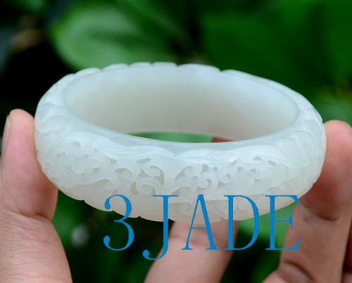 Carved White Jade Bangle