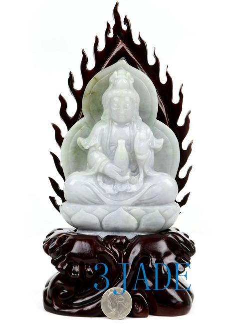 A Grade Jadeite Jade Kwan Yin Statue