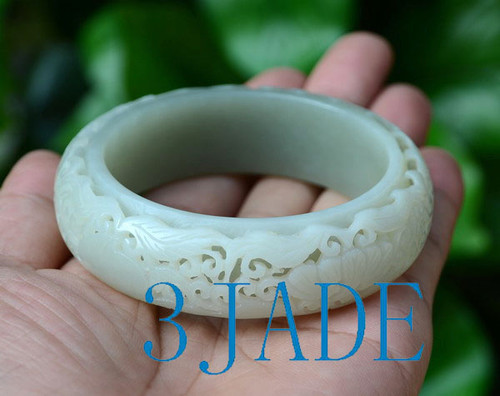 58.5mm Hand Carved Natural Nephrite Jade Bangle Bracelet, w/ Certificate