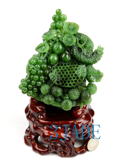 Jade Flower & Fruit Basket Statue