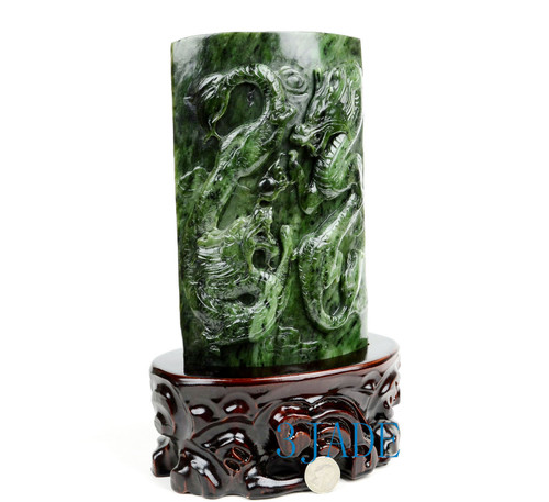 Green Nephrite Jade Double Dragons Statue