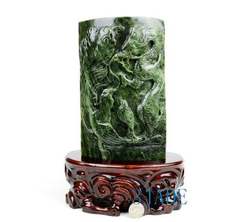 Green Nephrite Jade Dragon & Phoenix Plaque