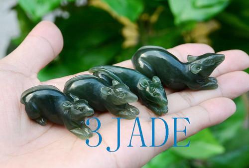 Hand Carved Nephrite Jade Mouse Figurine