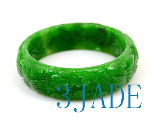 56.5mm Carved Green Nephrite Jade Bangle Bracelet