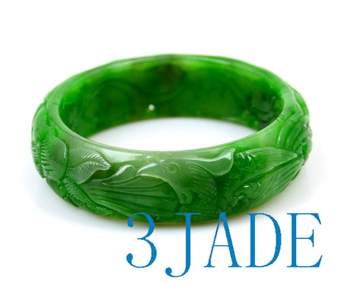 Hand Carved Green Jade Bangle