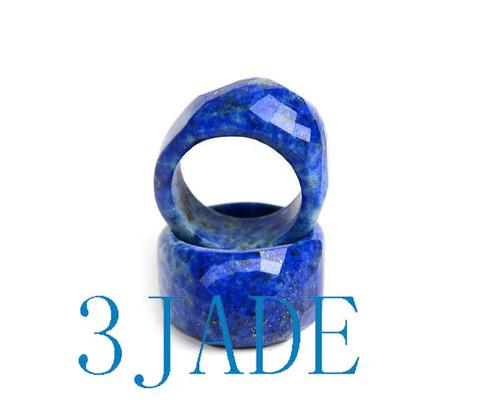 Faceted Natural Lapis Lazuli Saddle Ring
