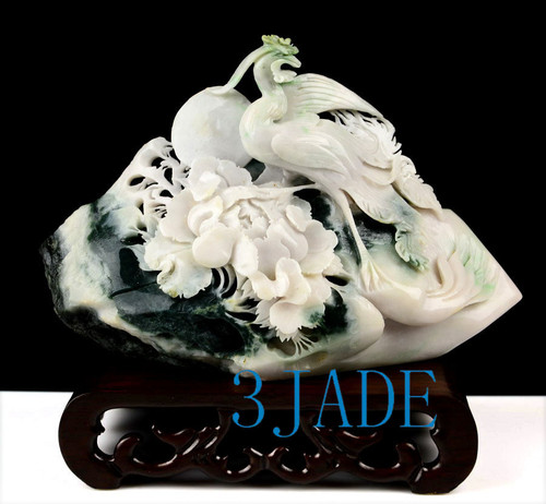 Dushan Jade Bird Flower Carving