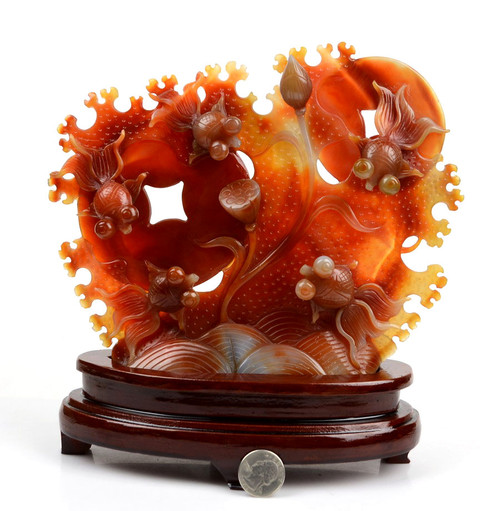 carnelian goldfish sculpture