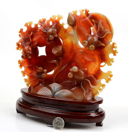 red agate goldfish sculpture